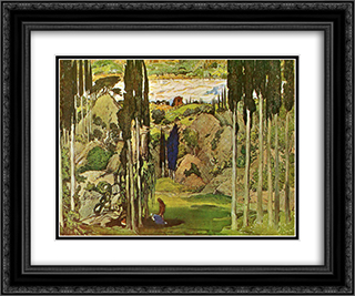 Daphnis and Chloe set design 24x20 Black or Gold Ornate Framed and Double Matted Art Print by Leon Bakst