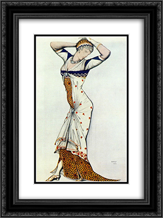 Design for a lady's dress 18x24 Black or Gold Ornate Framed and Double Matted Art Print by Leon Bakst