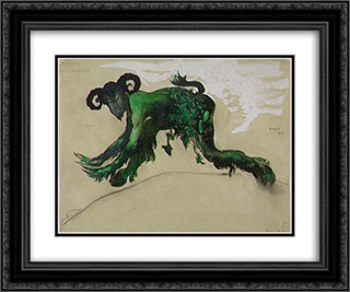 Drawing young divinity Narcisse costume, ballet Diaghilev 24x20 Black or Gold Ornate Framed and Double Matted Art Print by Leon Bakst