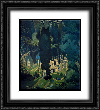 Elisium 20x22 Black or Gold Ornate Framed and Double Matted Art Print by Leon Bakst
