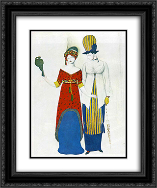 Fantasy on modern costume 20x24 Black or Gold Ornate Framed and Double Matted Art Print by Leon Bakst