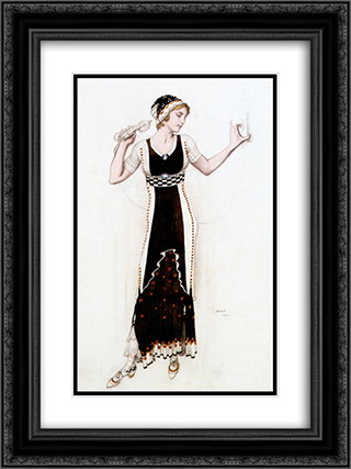 Fantasy on modern costume (atalanta) 18x24 Black or Gold Ornate Framed and Double Matted Art Print by Leon Bakst