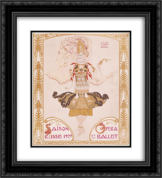 Front cover of Comoedia 20x22 Black or Gold Ornate Framed and Double Matted Art Print by Leon Bakst
