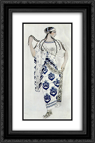 Helene de Sparte - costume for Ida Rubinstein as Helene 16x24 Black or Gold Ornate Framed and Double Matted Art Print by Leon Bakst