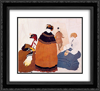 In the artist's studio 22x20 Black or Gold Ornate Framed and Double Matted Art Print by Leon Bakst