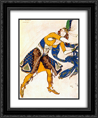 Indo-persian dance 20x24 Black or Gold Ornate Framed and Double Matted Art Print by Leon Bakst