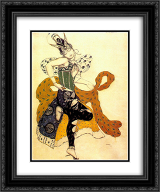 La peri Natasha Trouhanova as the Peri 20x24 Black or Gold Ornate Framed and Double Matted Art Print by Leon Bakst