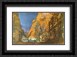 Le dieu bleu - set design 24x18 Black or Gold Ornate Framed and Double Matted Art Print by Leon Bakst