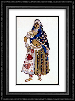 Le dieu bleu bayadere 18x24 Black or Gold Ornate Framed and Double Matted Art Print by Leon Bakst