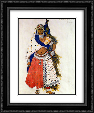 Le dieu bleu bayadere with peacock 20x24 Black or Gold Ornate Framed and Double Matted Art Print by Leon Bakst