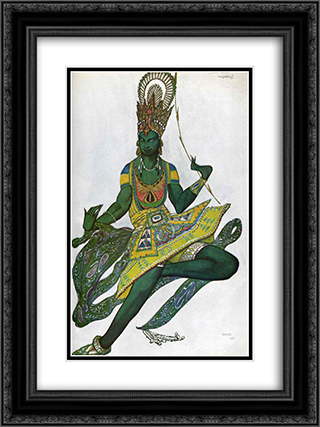 Le dieu bleu Nijinsky in title role 18x24 Black or Gold Ornate Framed and Double Matted Art Print by Leon Bakst