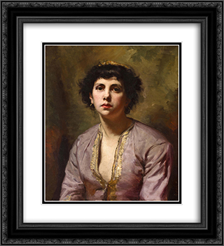 A portrait of a young girl 20x22 Black or Gold Ornate Framed and Double Matted Art Print by Leon Bonnat