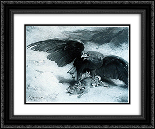 Aigle et Lapin 24x20 Black or Gold Ornate Framed and Double Matted Art Print by Leon Bonnat