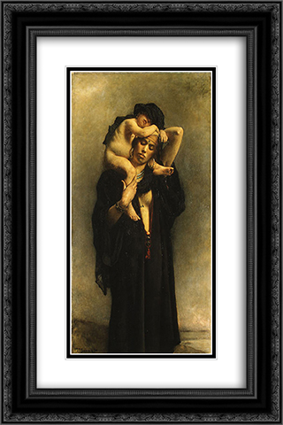 An Egyptian Peasant Woman and Her Child 16x24 Black or Gold Ornate Framed and Double Matted Art Print by Leon Bonnat
