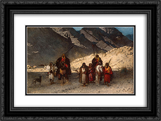 Arabian Sheikhs in the Mountains 24x18 Black or Gold Ornate Framed and Double Matted Art Print by Leon Bonnat
