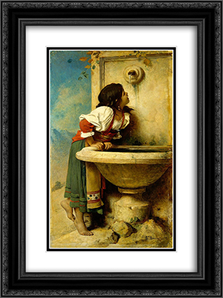 Fille romaine a la fontaine 18x24 Black or Gold Ornate Framed and Double Matted Art Print by Leon Bonnat