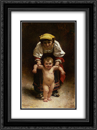 First Steps 18x24 Black or Gold Ornate Framed and Double Matted Art Print by Leon Bonnat