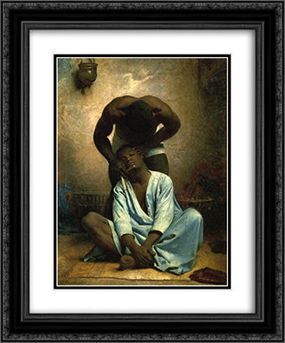 Le Barbier negre a Suez 20x24 Black or Gold Ornate Framed and Double Matted Art Print by Leon Bonnat