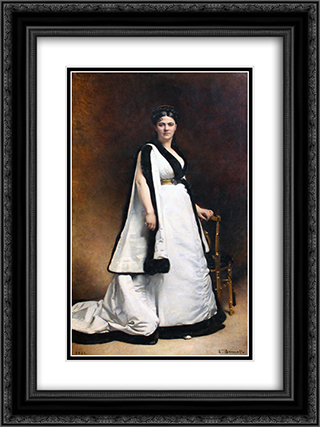 Madame Pasca 18x24 Black or Gold Ornate Framed and Double Matted Art Print by Leon Bonnat