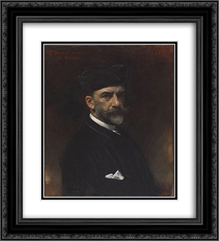 Self Portrait dedicated to William Walters 20x22 Black or Gold Ornate Framed and Double Matted Art Print by Leon Bonnat