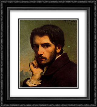 Self-portrait 20x22 Black or Gold Ornate Framed and Double Matted Art Print by Leon Bonnat