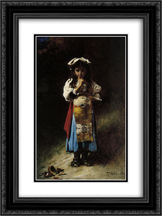 The Broken Jug 18x24 Black or Gold Ornate Framed and Double Matted Art Print by Leon Bonnat