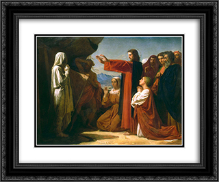 The Resurrection of Lazarus 24x20 Black or Gold Ornate Framed and Double Matted Art Print by Leon Bonnat