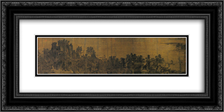 Intimate Scenery of River and Mountains (detail) 24x12 Black or Gold Ornate Framed and Double Matted Art Print by Li Tang