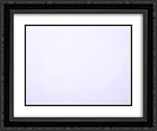 Monochrome White Painting 24x20 Black or Gold Ornate Framed and Double Matted Art Print by Li Yuan Chia