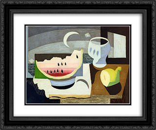 A Slice of Watermelon 24x20 Black or Gold Ornate Framed and Double Matted Art Print by Louis Marcoussis