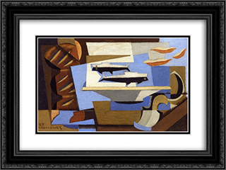 Breton Bread, Two Fish, Spoon 24x18 Black or Gold Ornate Framed and Double Matted Art Print by Louis Marcoussis