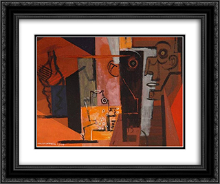 Composition au visage et au coquillage 24x20 Black or Gold Ornate Framed and Double Matted Art Print by Louis Marcoussis