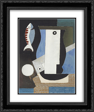 Composition cubiste au portrait, poisson et clair de lune 20x24 Black or Gold Ornate Framed and Double Matted Art Print by Louis Marcoussis
