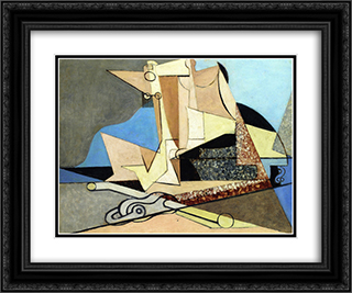Figures and Marine Anchor 24x20 Black or Gold Ornate Framed and Double Matted Art Print by Louis Marcoussis
