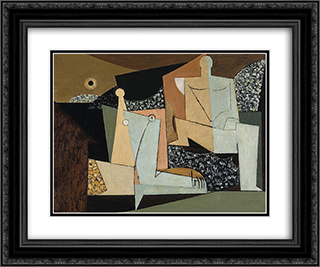 Figures on a Beach 24x20 Black or Gold Ornate Framed and Double Matted Art Print by Louis Marcoussis