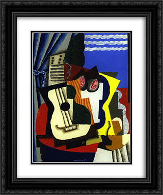 Guitar and Pomegranates by a Window 20x24 Black or Gold Ornate Framed and Double Matted Art Print by Louis Marcoussis