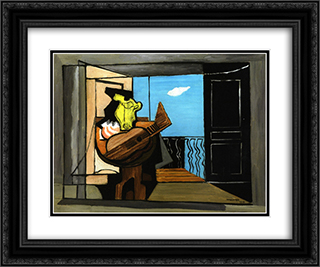 Interior with Balcony 24x20 Black or Gold Ornate Framed and Double Matted Art Print by Louis Marcoussis