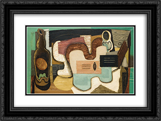 La Cithare 24x18 Black or Gold Ornate Framed and Double Matted Art Print by Louis Marcoussis
