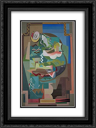 La Table 18x24 Black or Gold Ornate Framed and Double Matted Art Print by Louis Marcoussis