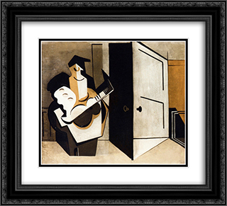 Musician in an Interior 22x20 Black or Gold Ornate Framed and Double Matted Art Print by Louis Marcoussis