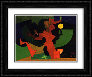 Nuit II (Composition with Frog) 24x20 Black or Gold Ornate Framed and Double Matted Art Print by Louis Marcoussis