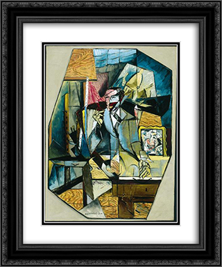 Portret van Albert Flechteim 20x24 Black or Gold Ornate Framed and Double Matted Art Print by Louis Marcoussis