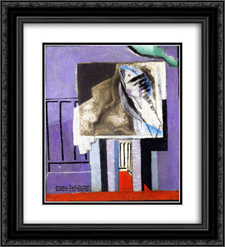 Still LIfe in front of the Balcony 20x22 Black or Gold Ornate Framed and Double Matted Art Print by Louis Marcoussis