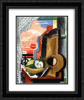 Still LIfe in front of the Window 20x24 Black or Gold Ornate Framed and Double Matted Art Print by Louis Marcoussis