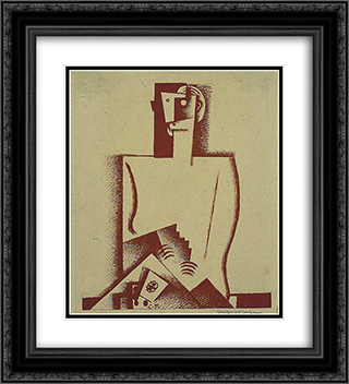The Cardplayer 20x22 Black or Gold Ornate Framed and Double Matted Art Print by Louis Marcoussis