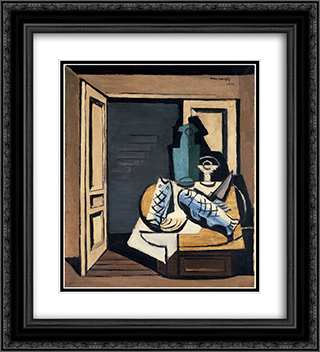The Open Door 20x22 Black or Gold Ornate Framed and Double Matted Art Print by Louis Marcoussis