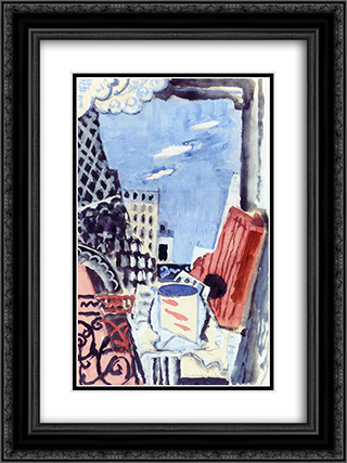 The Window overlooking the Eiffel Tower 18x24 Black or Gold Ornate Framed and Double Matted Art Print by Louis Marcoussis