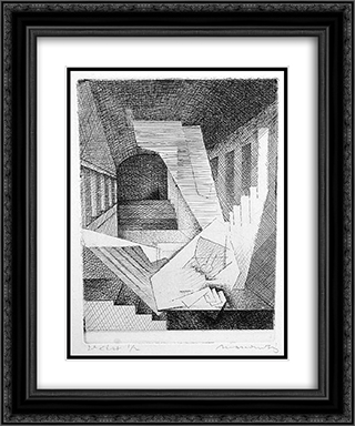 Un Reve (A Dream) 20x24 Black or Gold Ornate Framed and Double Matted Art Print by Louis Marcoussis