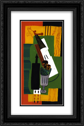 Violin, Bottle Flowers in a Glass and Eight of Spades 16x24 Black or Gold Ornate Framed and Double Matted Art Print by Louis Marcoussis