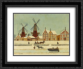 Au bord de la riviere en hiver 24x20 Black or Gold Ornate Framed and Double Matted Art Print by Louis Vivin